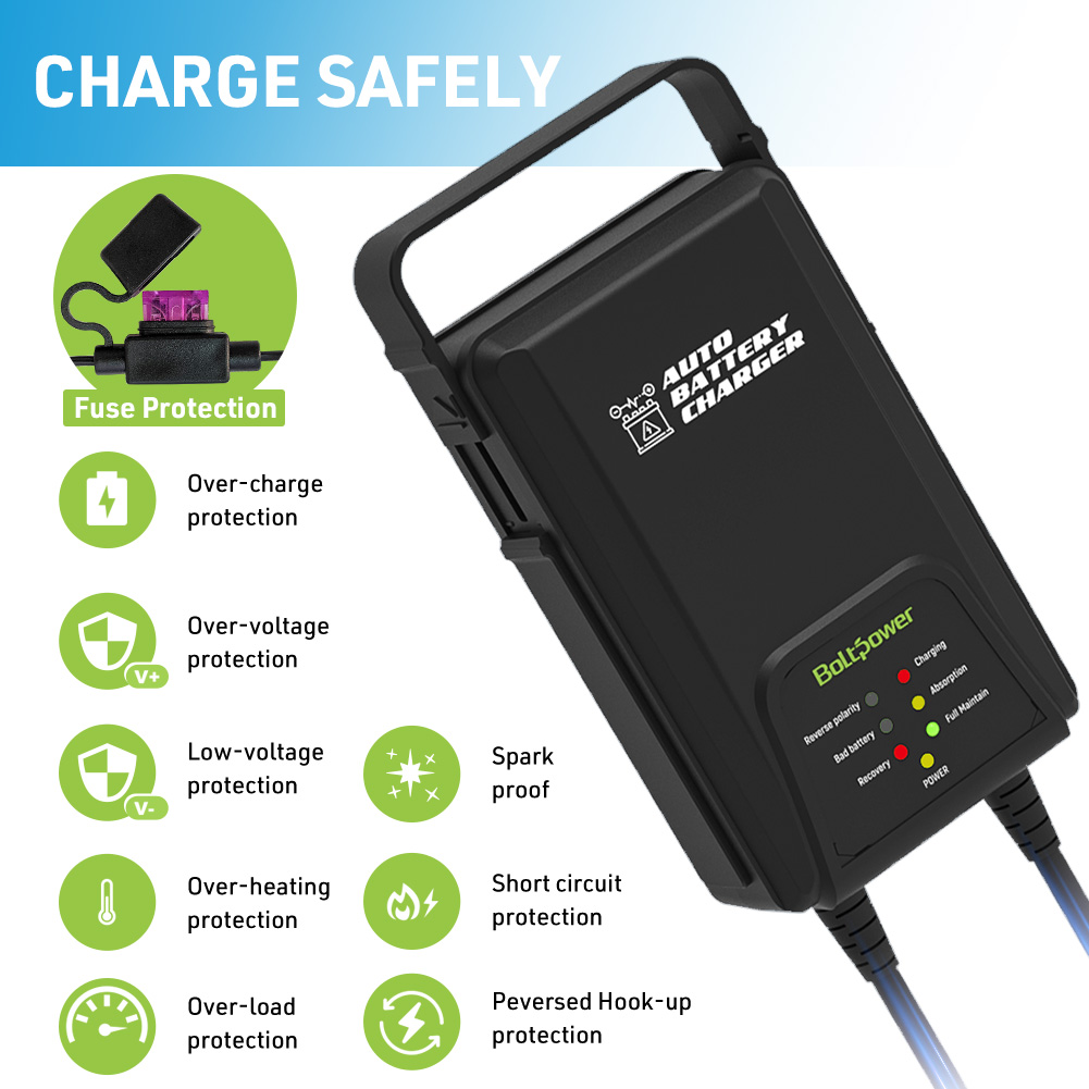 Trickle Battery Charger,12V 1250mA Smart Battery Charger Portable Car Battery Charger for 12V Lead-Acid Batteries